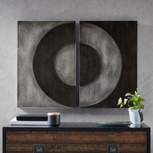 Black Grey Circle Abstract 2 Piece Wood Box Wall Art Grey Wall Decor Madison Park Wall Decor Set
