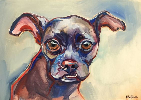 Chihuahua Mix - Oil paint on panel commission / availability information: www.juliepfirsch.com