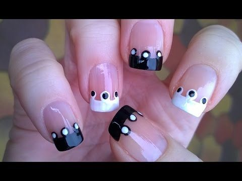 French Manicure Ideas 2 Black White Polka Dot Nails Easy