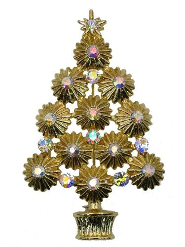 Gorgeous Ab Crystal Gold Metal Christmas Tree Pin Brooch A127