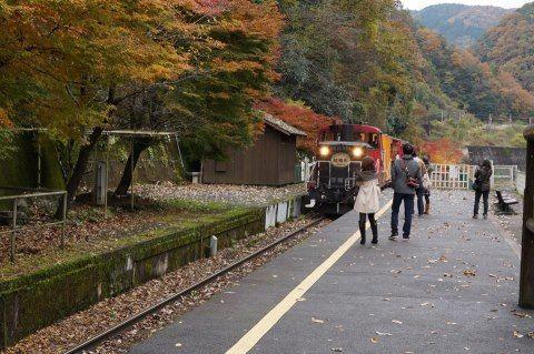 京都・トロッコ保津峡駅にて