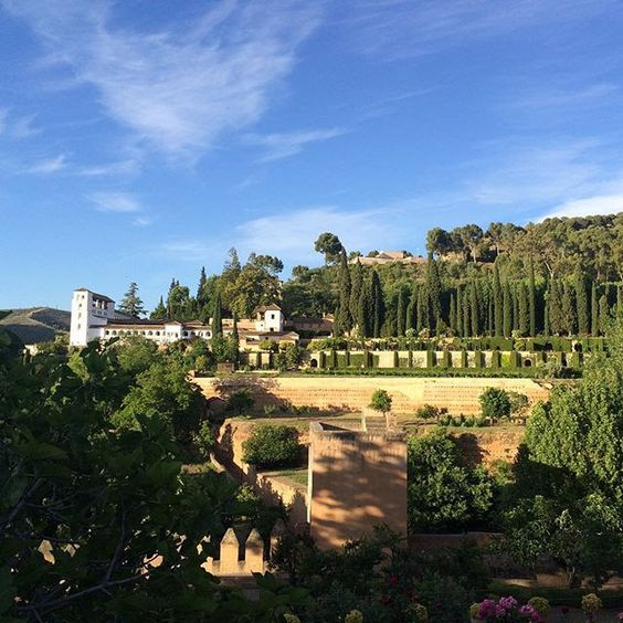 la alhambra.  granada, spain.  photos can not possibly due this incredible group of palaces justice.  pictured grounds.  circa 2009