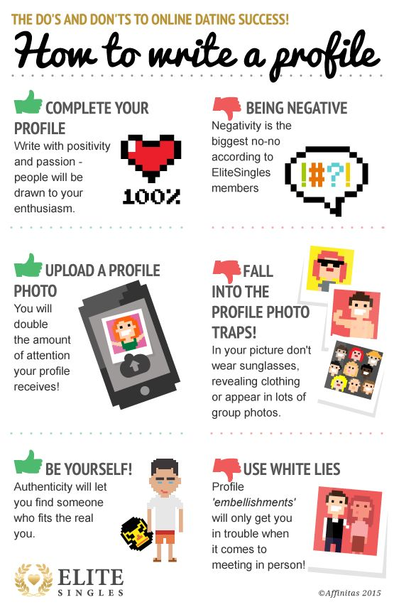 Great online dating starts with a great profile - learn the do's and don'ts here! | EliteSingles #infograph #dateadvice