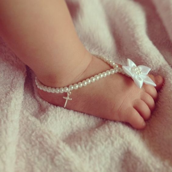 Baby barefoot sandals, cross jewelry, baptism, christening ...