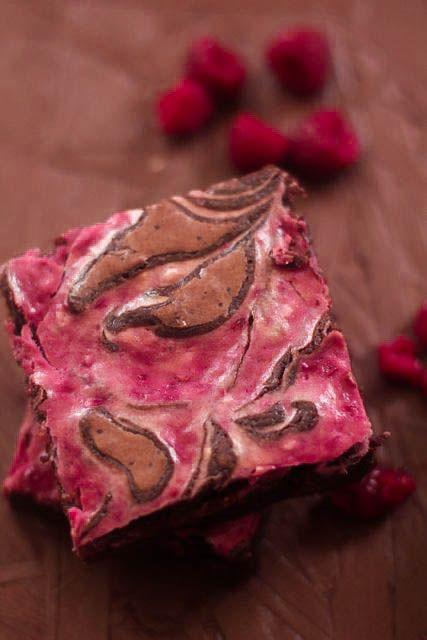 Raspberry Cheesecake Swirled Brownies - The Seaside Baker