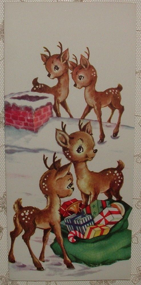 UNUSED - Darling Little Fawns on Rooftop -1950's Vintage Christmas Greeting Card: