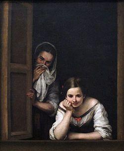 Bartolomé Esteban Murillo (Spanish, 1617-1682).  Mujeres en la ventana.