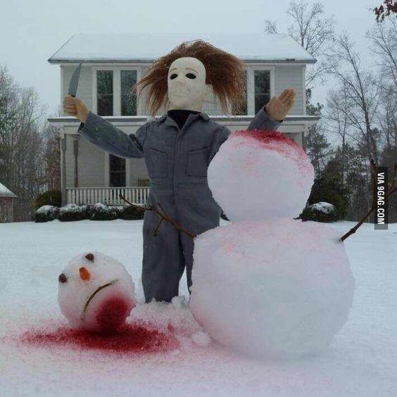 decapitated snowman #snowSculpture #snow #winter #sculpture #horrorMovie