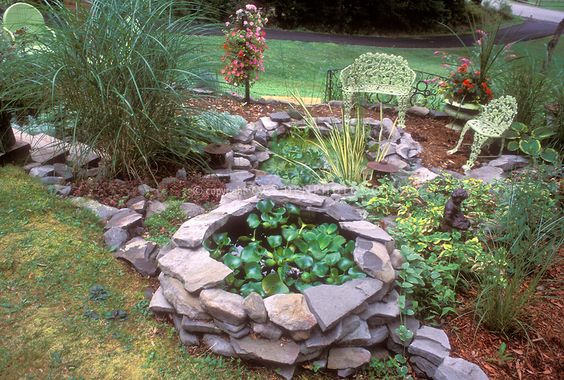 Landscaping With Slate Rock : Garden benches water climbing landscaping slate grasses google