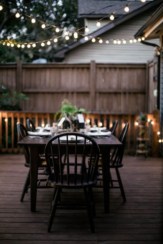 Outdoor Room Ambience: Globe String Lights! - Tips, Ideas and Inspiration! Including from 'local milk blog', this wonderful outdoor room setting with globe string lights!