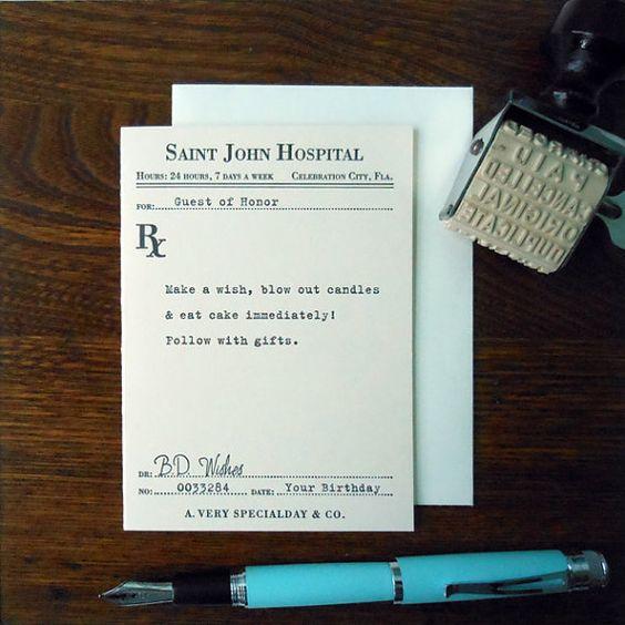 letterpress birthday prescription greeting card by afavoritedesign