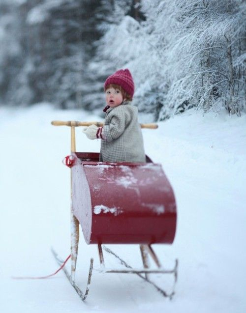 pojke på spark - my family had a baby sleigh much like this. I would love to have a spark!