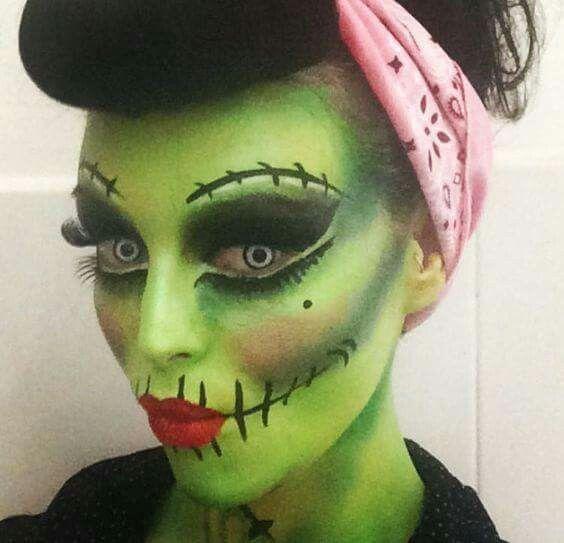 Pinup Frankenstein makeup: