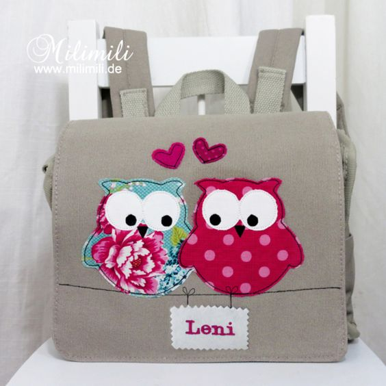 ♥ Verliebte Eulen ♥ Kita-Rucksack  just a picture but those owls are sooo cute!