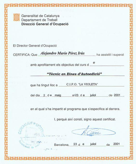2001 Diplomas Tecnico en Herramientas de Autoedicion y Publicidad por AlejandroPI Alejandro Perez Irus