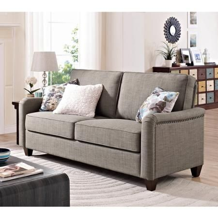Better Homes and Gardens Grayson Sofa with Nailheads Grey Walmart