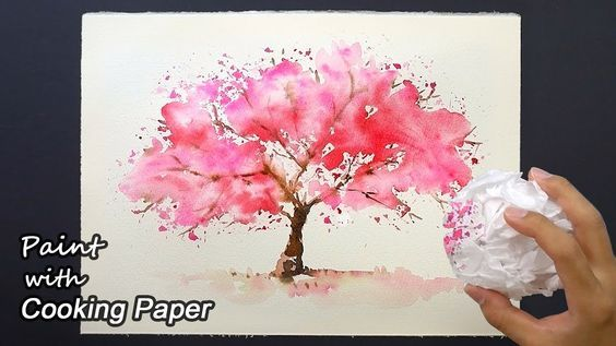 How To Paint A Cherry Tree With Cooking Paper Easy Painting