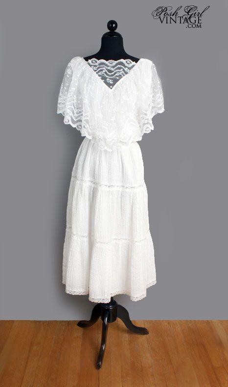 1970's White Cotton & Lace Dress - M