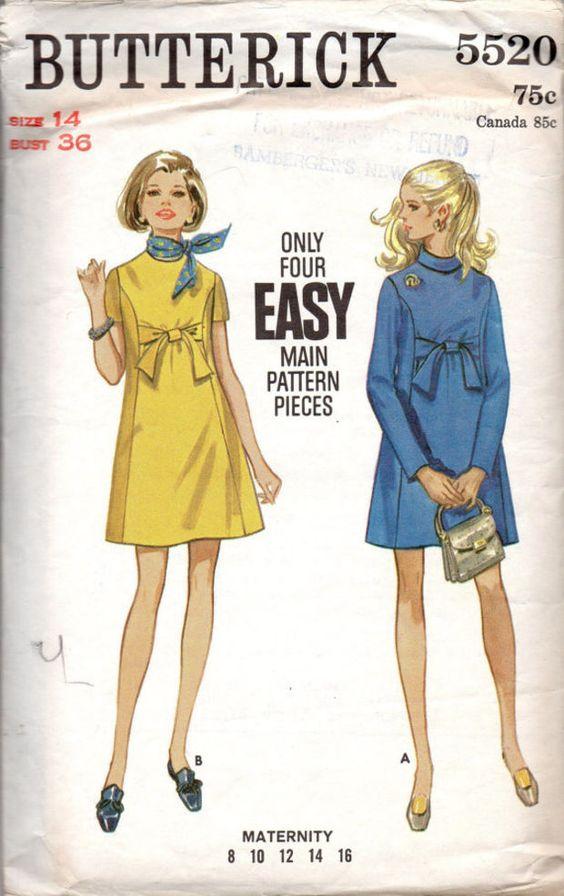Retro 60s Empire Waist Maternity Dress Butterick 5520 Sewing Pattern Mod Mad Men Style High Neck Mini Length Bust 36