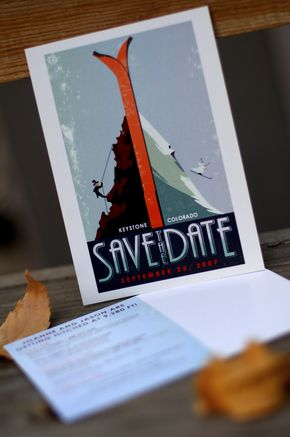 Vintage Travel Poster - Skis - Save The Date