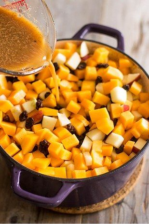 Slow-roasted pork with butternut squash and apple cider gravy.