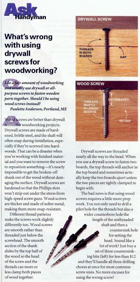 why not drywall screws