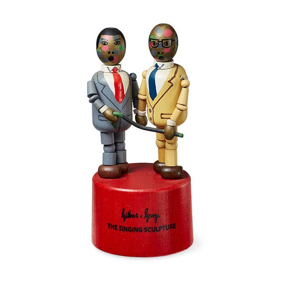 Gilbert George Singing Sculpture Wooden Toy In Color Gilbert George Modern Prints Sculpture