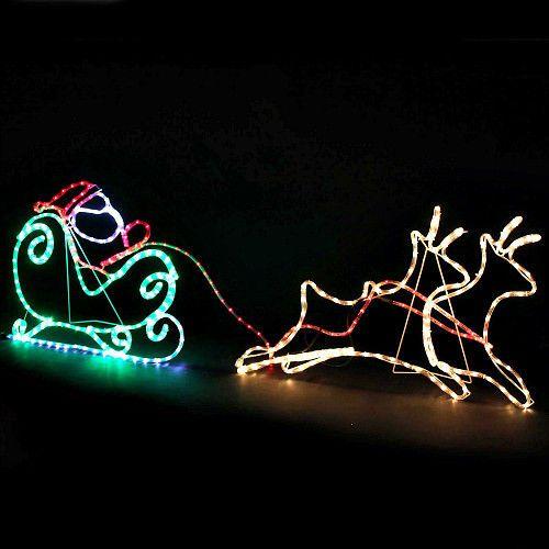 Christmas Santa Reindeer Sleight Large Rope Light Silhouette Outdoor Yard Decor Unbranded Natal Decoracao