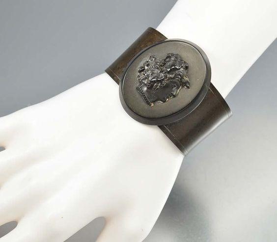 Antique Victorian Gutta Percha Cameo Bracelet Mourning