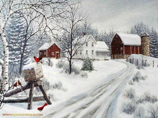 Christmas Farm Wallpaper Wallpapersafari Winter Painting Painting Snow Winter Scenery