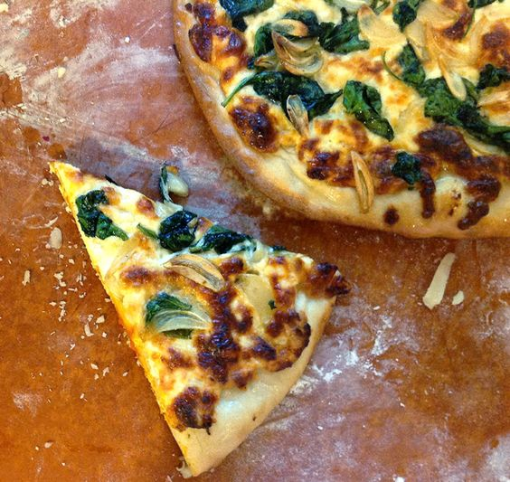 Three Cheese White Pizza with Spinach from Cooking Light via Taking On Magazines