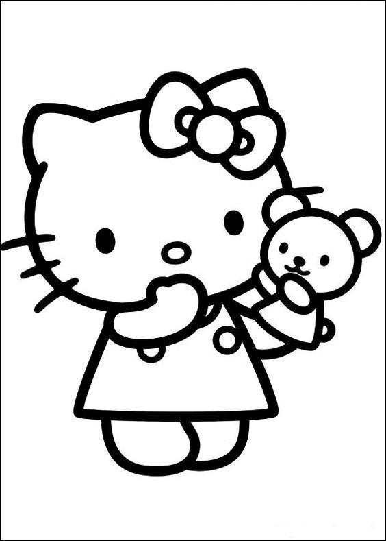 Dibujos para colorear de Hello Kitty con un osito de peluche