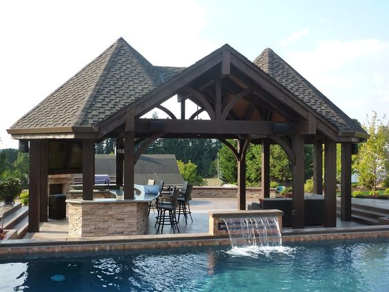 Outdoor structures outdoor kitchens and cabanas on pinterest for Outdoor pool cabana