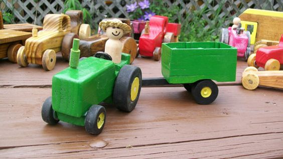 Wooden farm tractor with wagon by TomsWoodToys on Etsy, $15.00