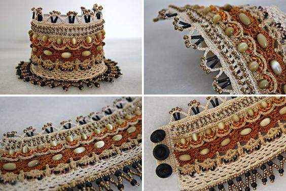 Crochet Bohemian cuff bracelet Beaded bracelet by YarnOverStories:
