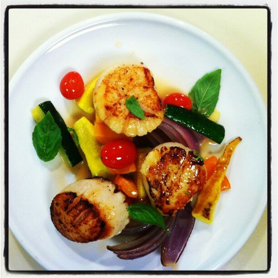 Recipe Developing: Scallops and grilled vegetables.