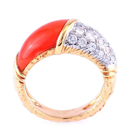 Authentic VAN CLEEF & ARPELS 18K GOLD DIAMOND CORAL RING #VCA