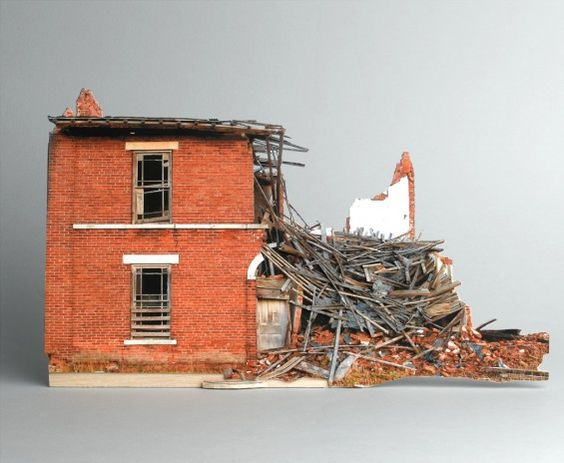 Ofra Lapid's Broken houses series is based on photographs of abandoned structures neglected by man and destroyed by the weather. The photos are found on the web while pursuing an amateur photographer from North Dakota who obsessively documents the decaying process of these houses. His photographs are used to create small scale models. Afterward, in the studio, the models are photographed again, omitted from their background and placed in gray. Eventually these are Digital pigment print size 3...: Scale Models, Artist Ofra, Dollhouse, Decaying Buildings, Dolls House