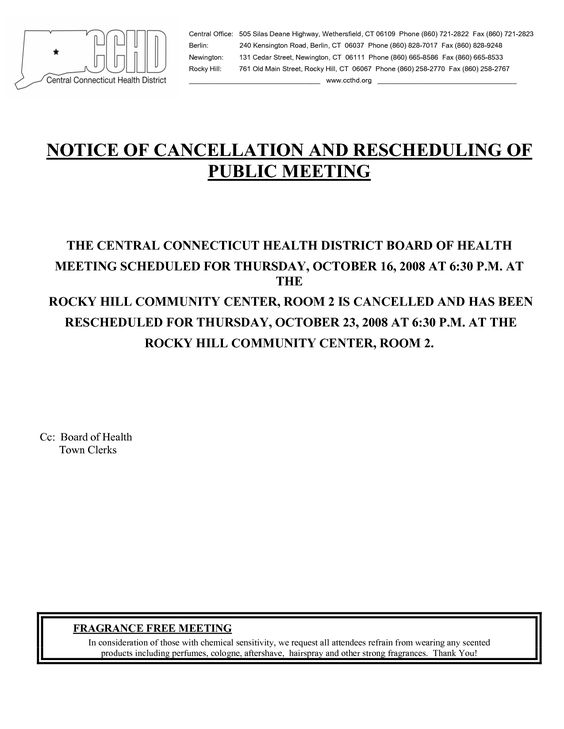 Event Cancellation Notice Sample - Invitation Templates - meeting memo template