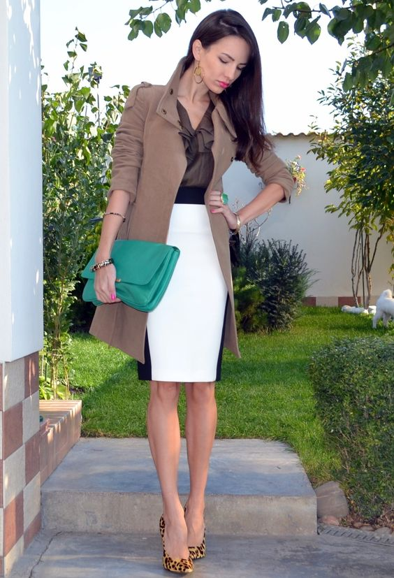 A beautiful day  , Mango in Coats, Zara in Skirts, Dune in Heels / Wedges: Coats Zara, Professional Outfits, Fashion Style, Street Style, Work Wear, Work Outfits, White Skirts