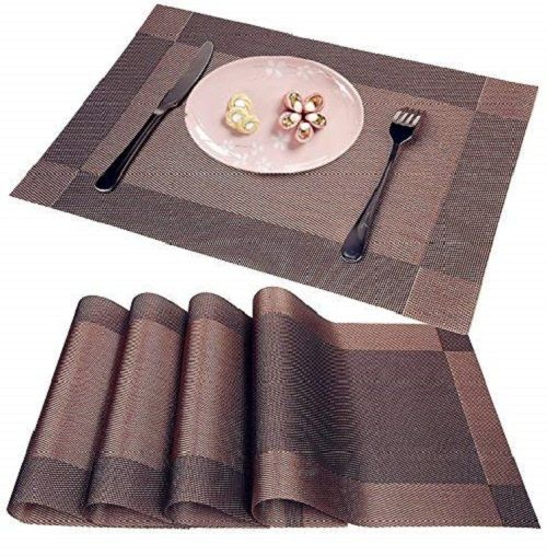 Wangchao Brown Placemats Set Of 8 Heat Insulation Stain Resistant Placemat For Dining Table Durable Placemats Brown Placemats Placemats For Round Table