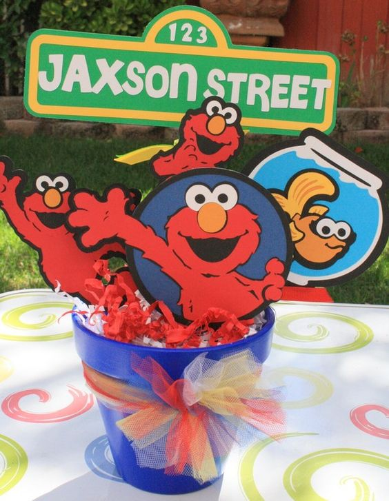 Sesame Street Elmo Character Party Bucket/ Centerpiece With Personalized Sesame Street Sign via Etsy