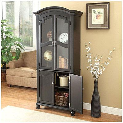 72 black cabinet with glass door at big lots great for either the living room buy two and put for Glass door cabinets living room