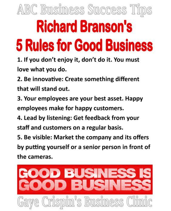 Richard Branson's 5 Rules for Good Business  #ABCSuccessTips