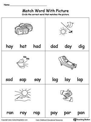 Printables Word Family Ay match word with picture it words families phonics reading ay provide your child experience in identifying words