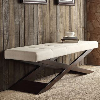 Shop for INSPIRE Q Bosworth Beige Linen Wood X Base Bench. Get free shipping at Overstock.com - Your Online Furniture Outlet Store! Get 5% in rewards with Club O!