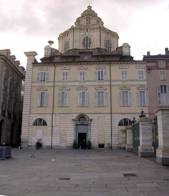 The Royal Church of San Lorenzo, Turin, is adjacent to the Royal Palace.