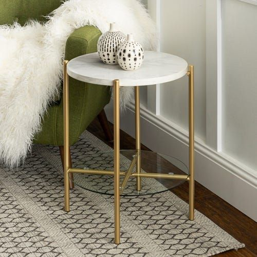 Faux Marble Gold Round Side Table With Glass Shelf Round Side Table Side Table Decor Gold Side Table