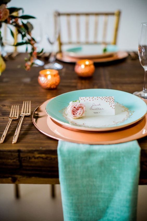 Stunning mint, rose gold and peach wedding inspiration from Minted and Aisle Society!