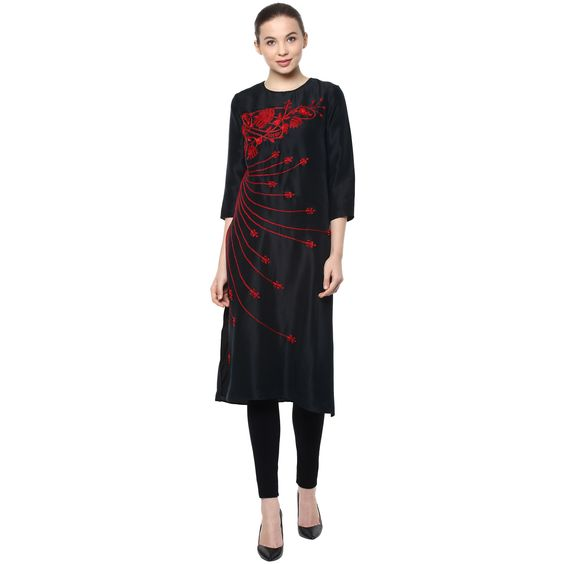 Hand embroidered Kurti in Black by Preeti S Kapoor
